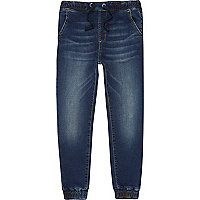 Boys dark blue wash fade jogger jeans