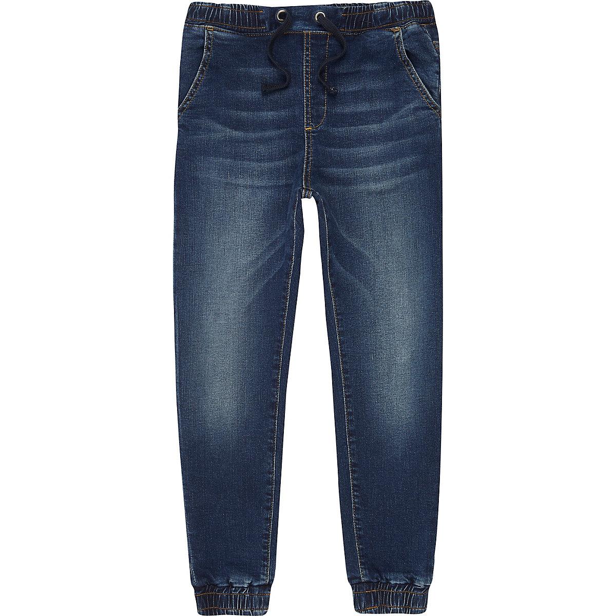 Ryan – Jean bleu foncé délavé style pantalon de jogging pour garçon