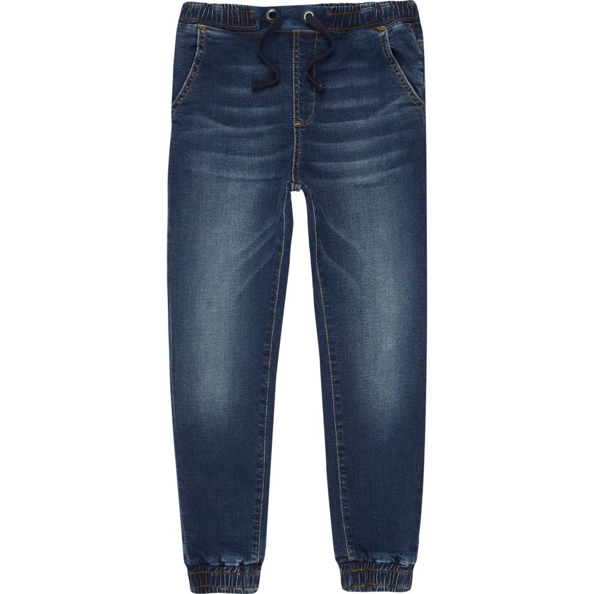 Boys dark blue Ryan fade jogger jeans - Slouch Tapered Jeans - Jeans - boys