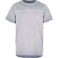 Boys blue oil washed raw edge T-shirt