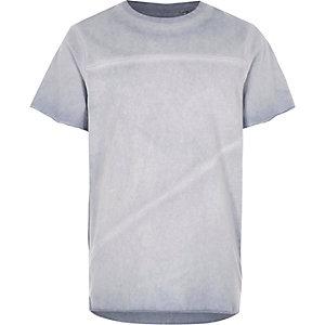 Blauw olie washed T-shirt met onafgewerkte rand voor jongens