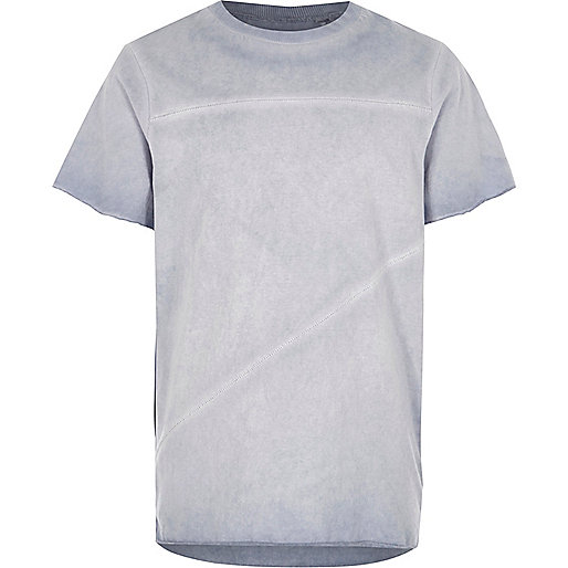 Boys blue oil washed raw edge T-shirt