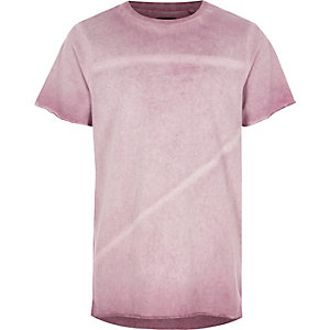 Boys purple oil washed raw edge T-shirt