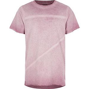 Paars oil washed T-shirt met onafgewerkte randen voor jongens