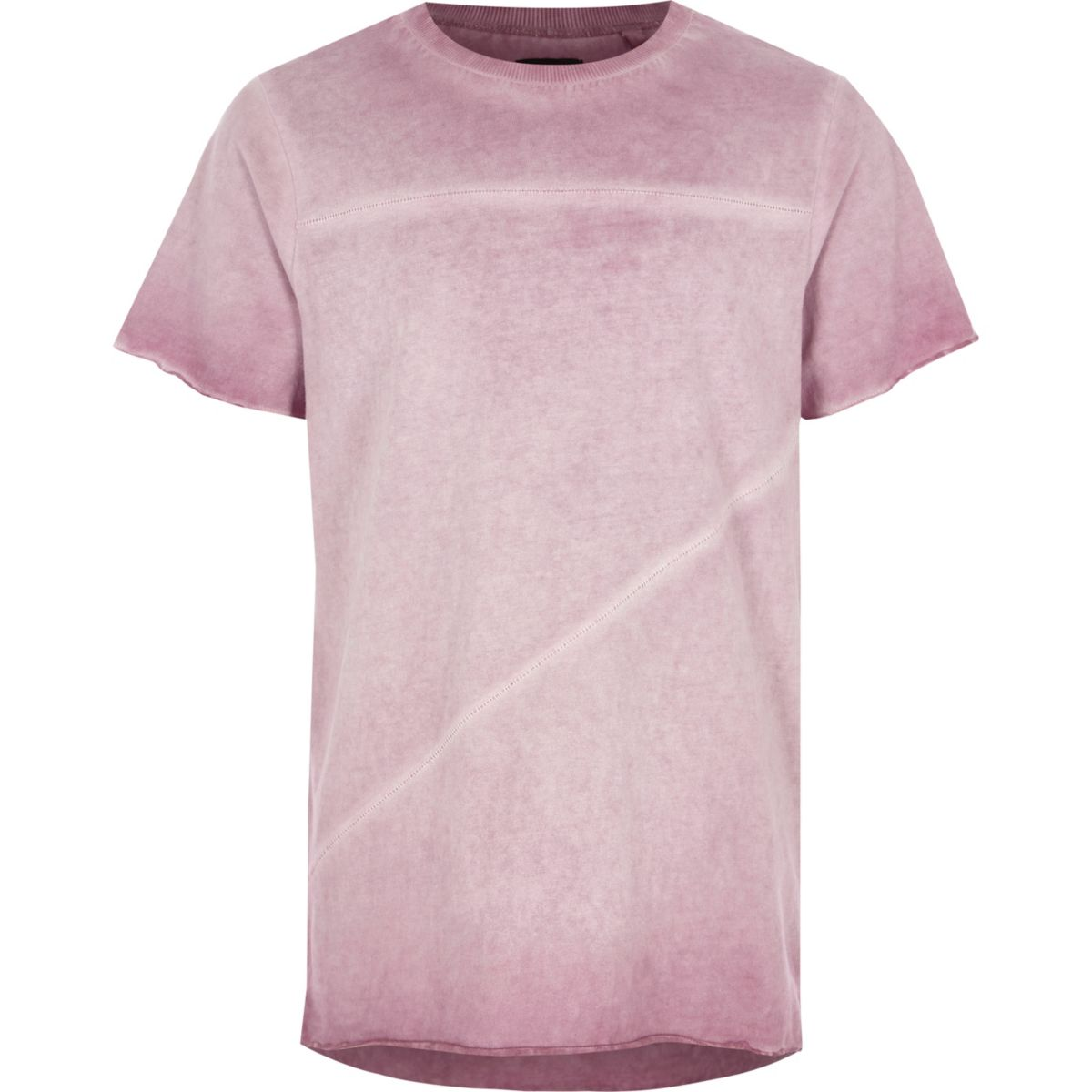 Boys purple oil washed raw edge T-shirt