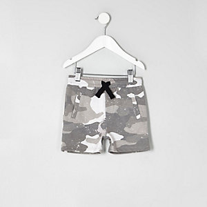 Mini boys grey camo print jersey shorts