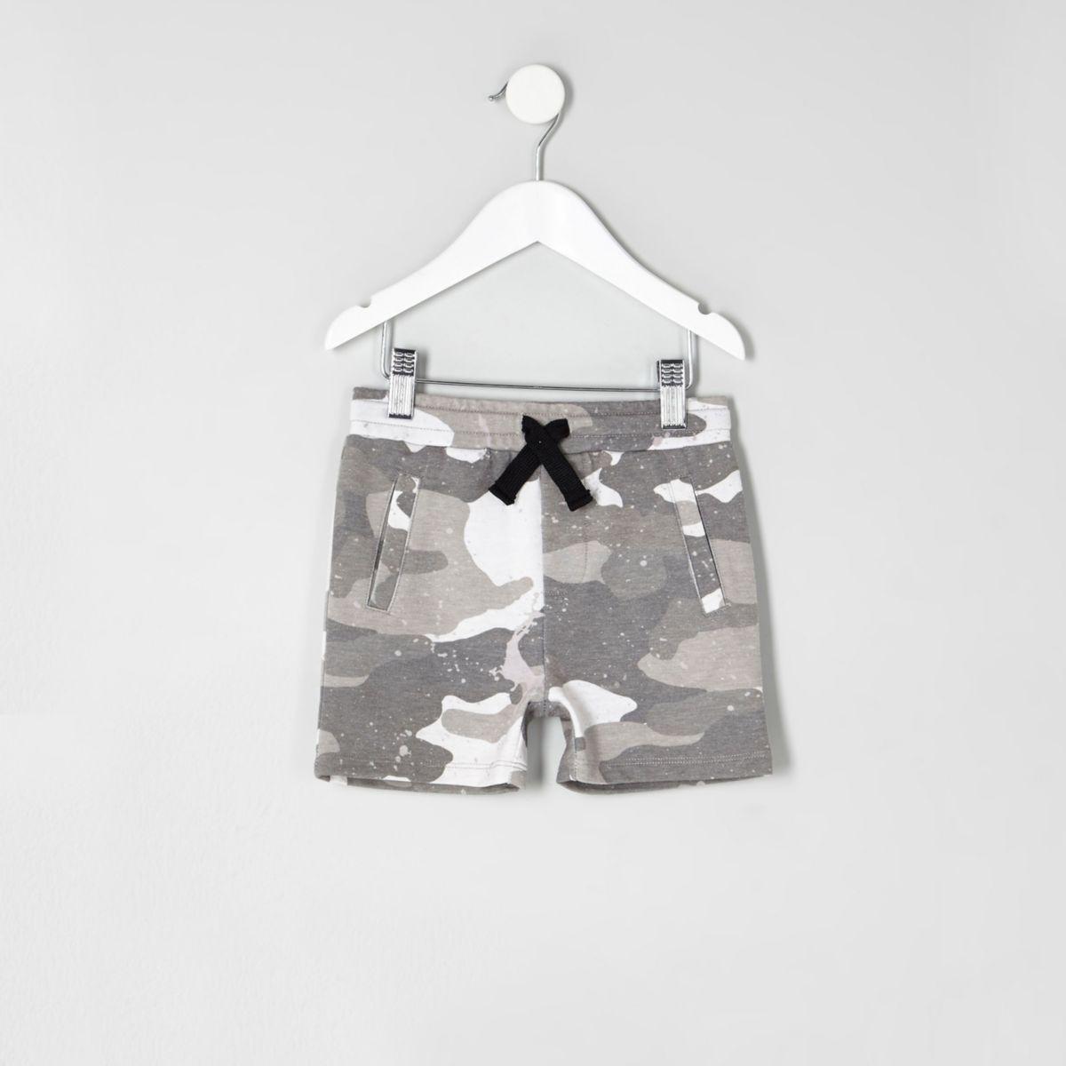 Mini boys grey camo print jersey shorts