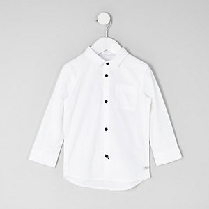 Mini boys white long sleeve Oxford shirt