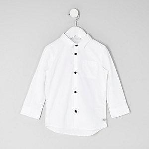 Mini - Wit Oxford overhemd met lange mouwen voor jongens