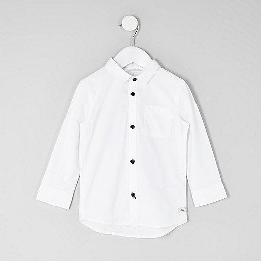Mini boys white long sleeve Oxford shirt