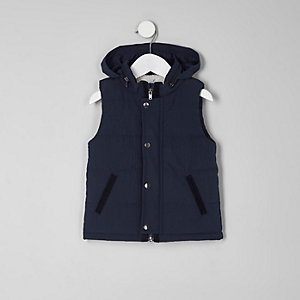 Mini boys navy puffer vest