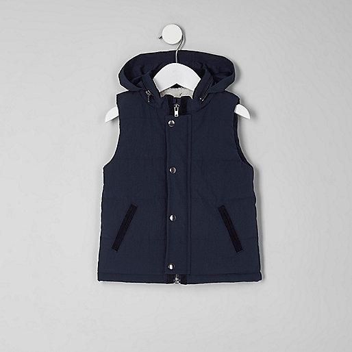 Mini boys navy puffer vest