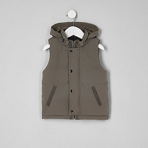 Mini boys khaki green fleece lined puffer vest