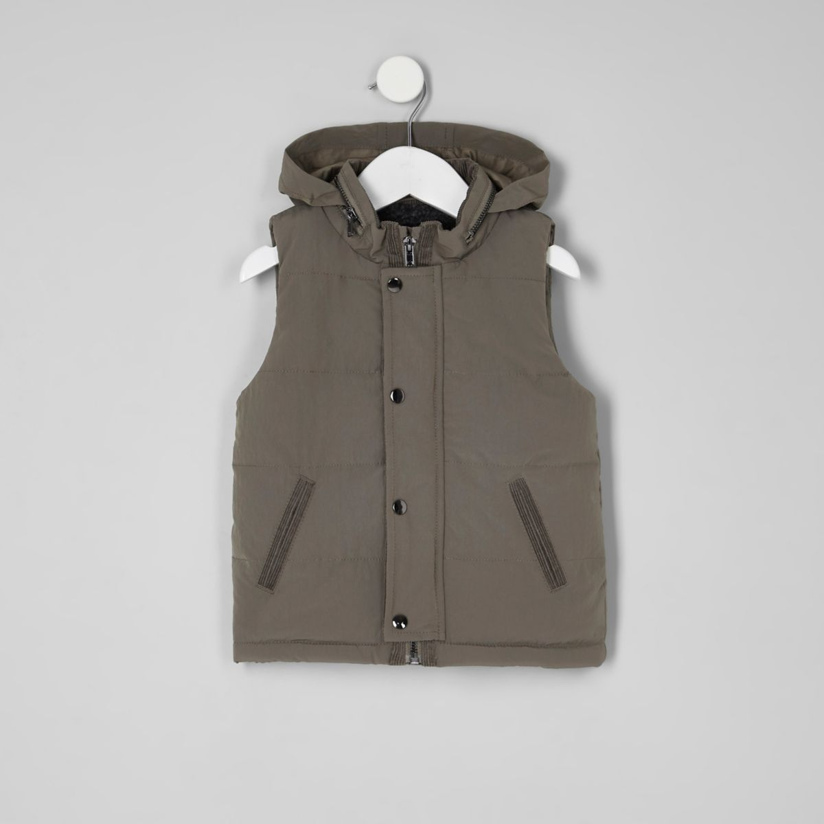 Mini boys khaki green fleece lined puffer vest