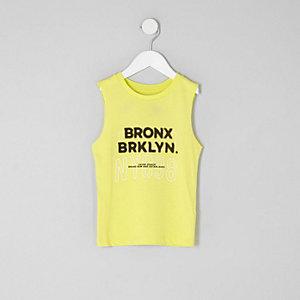 Mini boys lime green 'Bronx' print tank