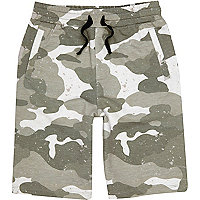Boys khaki green camo print jersey shorts