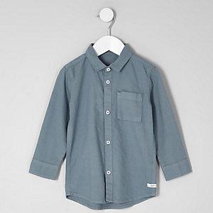 Mini - Blauw Oxford overhemd met lange mouwen voor jongens