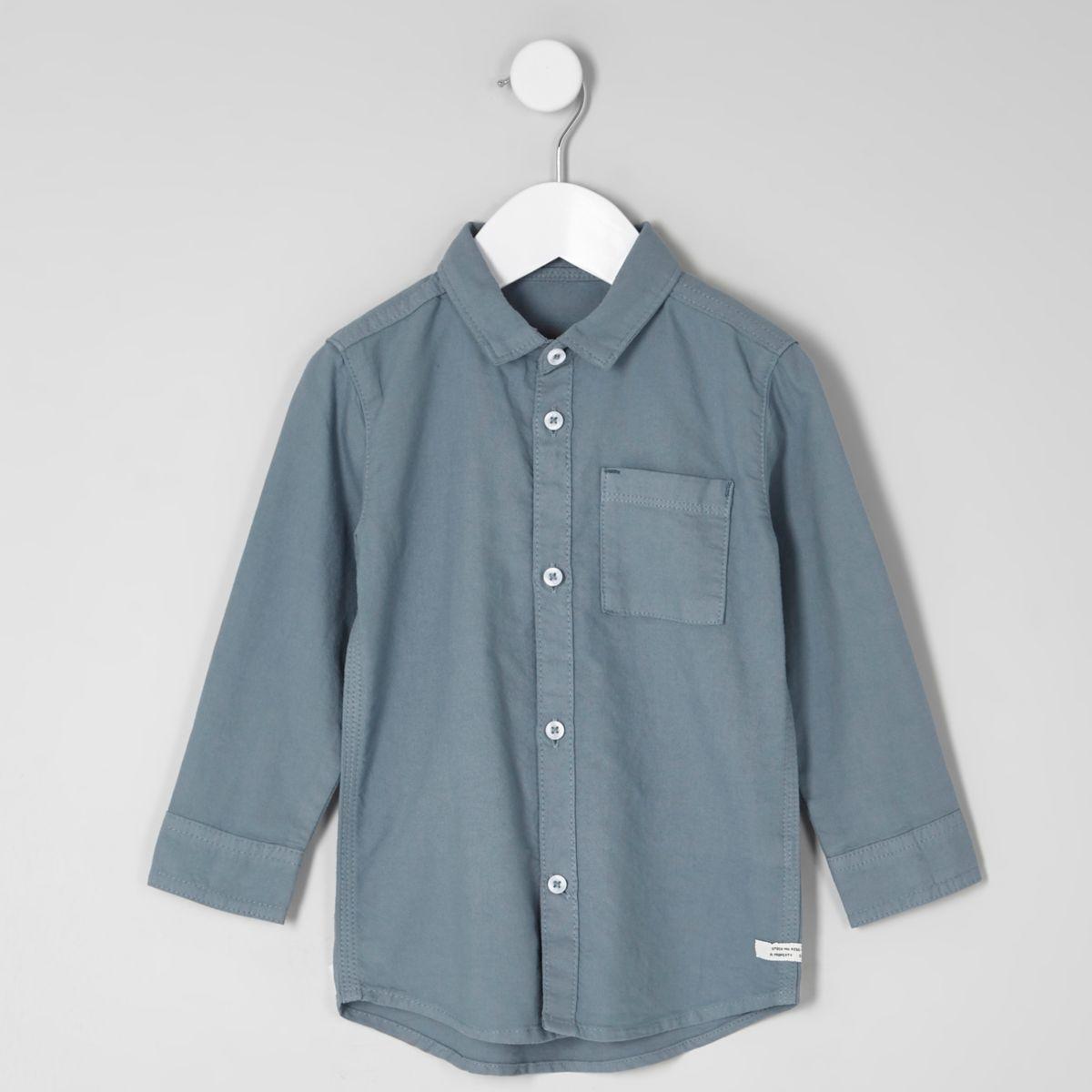 Mini boys blue long sleeve Oxford shirt