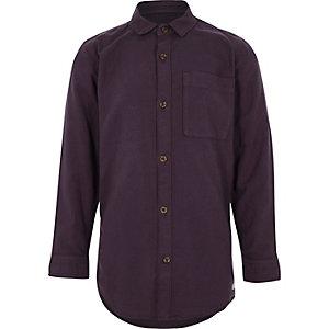 Chemise oxford manches longues violette garçon