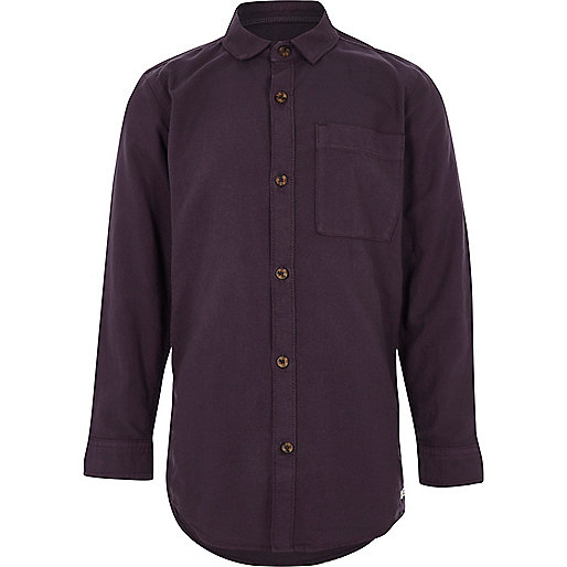 Boys purple long sleeve Oxford shirt
