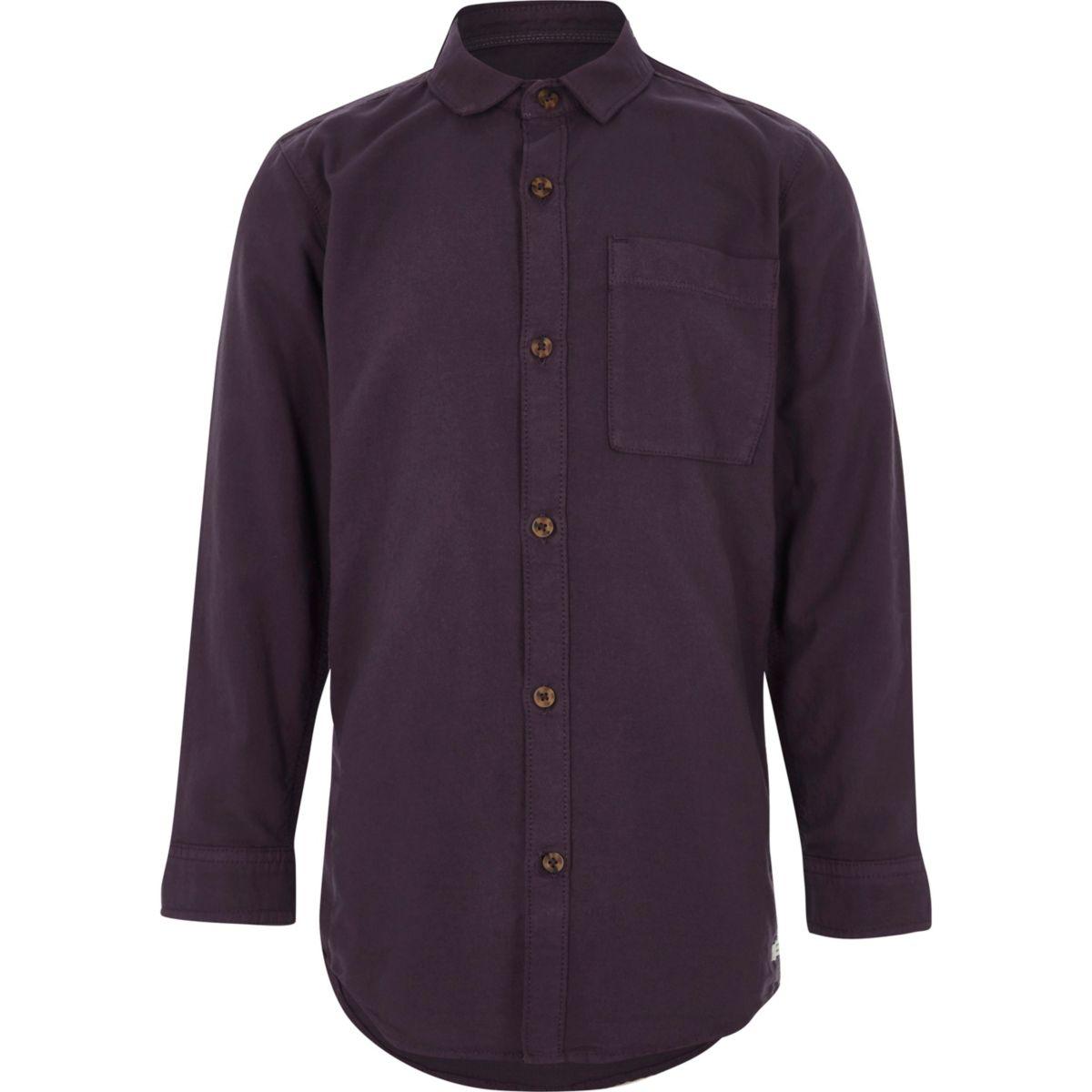 Boys purple long sleeve Oxford shirt