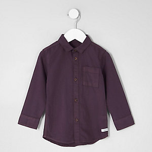 Mini boys purple long sleeve Oxford shirt