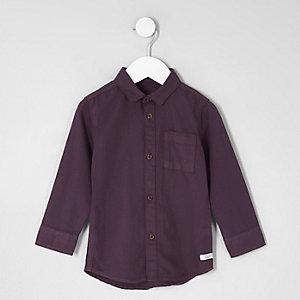 Mini - Paars oxford overhemd met lange mouwen voor jongens