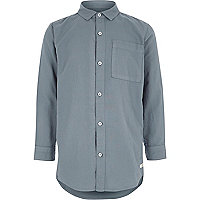 Boys washed blue long sleeve Oxford shirt