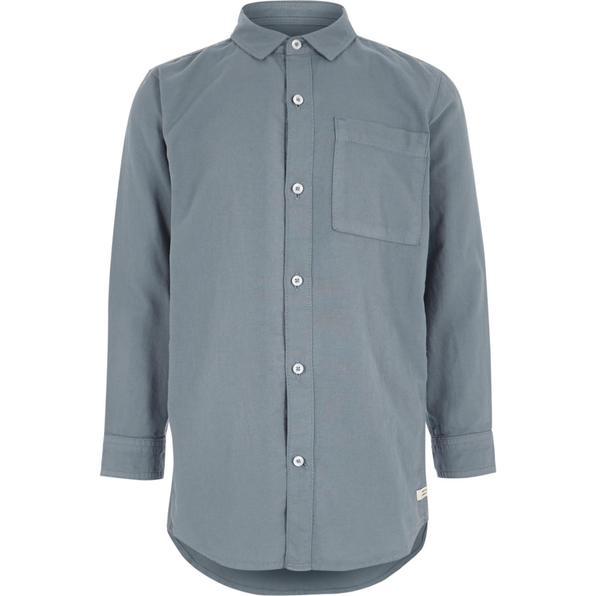 Boys washed blue long sleeve Oxford shirt