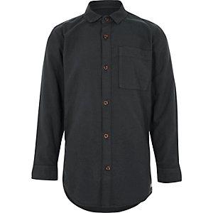 Dunkelgraues Oxford-Hemd mit langen Ärmeln