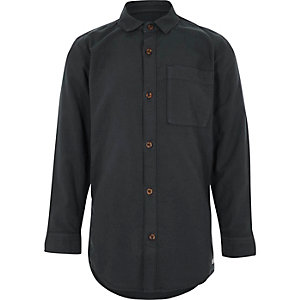 Boys dark grey long sleeve Oxford shirt