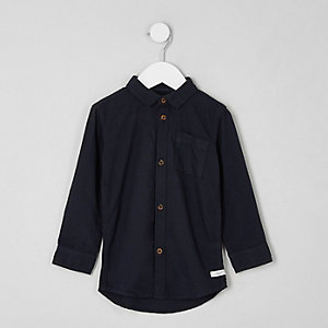 Mini boys dark grey long sleeve Oxford shirt