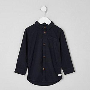 Mini - Donkergrijs Oxford overhemd met lange mouwen voor jongens