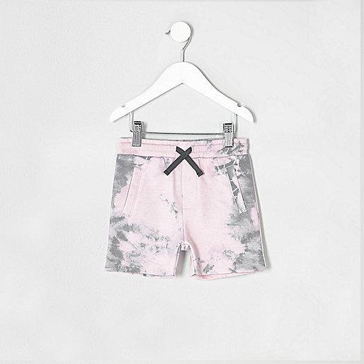 Mini boys pink jersey tie dye shorts