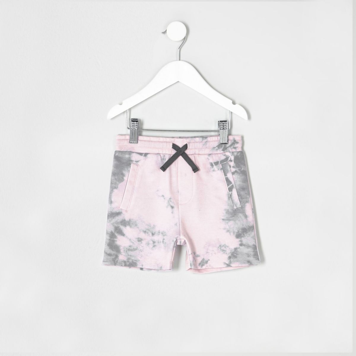 Mini boys pink jersey tie dye shorts
