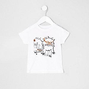 Mini boys white monster print T-shirt
