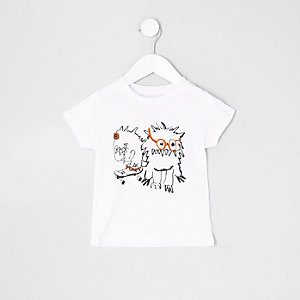 Mini boys white monster print T-shirt