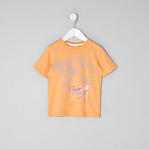 Mini boys orange 'Bermuda' print T-shirt