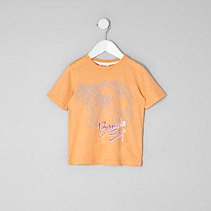Mini boys orange 'Bermuda' print T-shirt