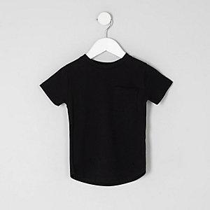 Mini boys black curved hem T-shirt