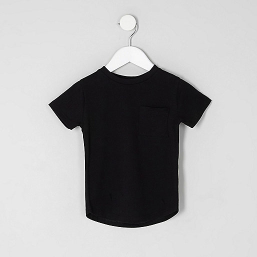 Mini boys black curved hem T-shirt