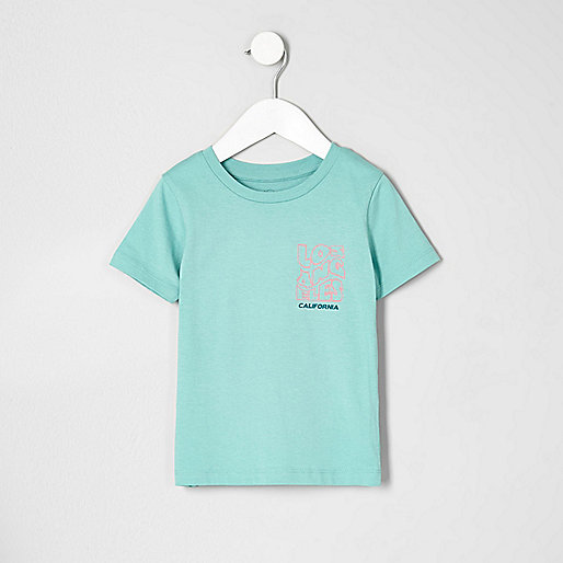 Mini boys green 'California' print T-shirt