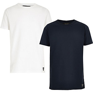 Boys white and navy waffle T-shirt multipack