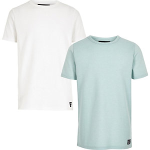 T-Shirts in Weiß und Grün mit Waffelmuster im Set