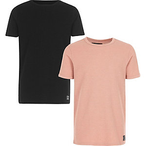 Boys black and pink waffle T-shirt multipack