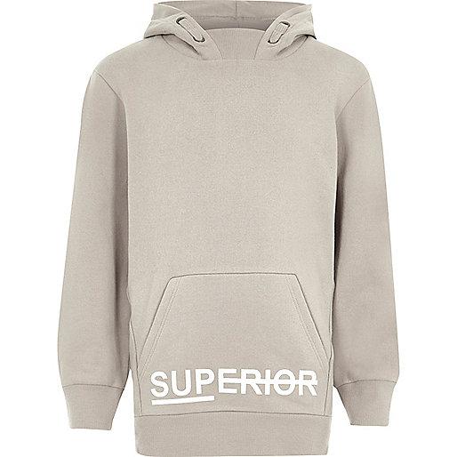 Boys grey 'superior' print hoodie