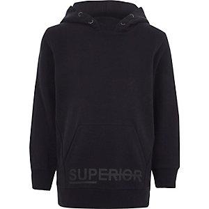 Marineblauwe geborstelde jersey hoodie met 'superior'-print