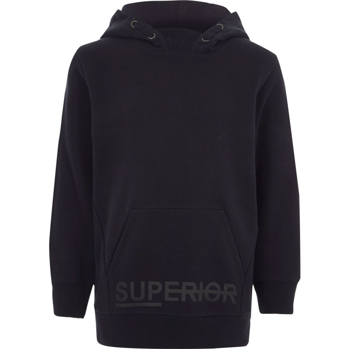 Boys navy 'superior' brushed jersey hoodie