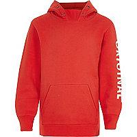 Boys red 'original' print hoodie