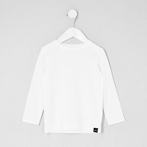 Mini boys white waffle long sleeve T-shirt
